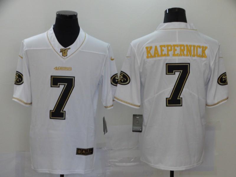 Nike 49ers 7 Colin Kaepernick White Gold Vapor Untouchable Limited Jersey