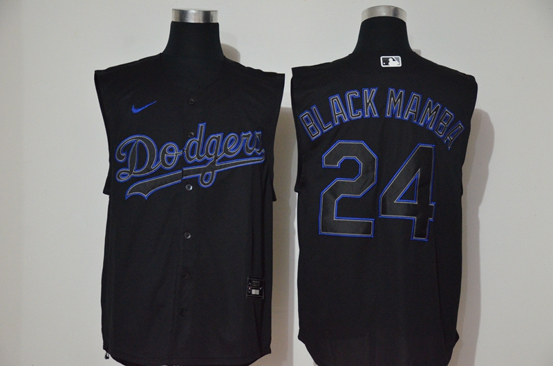 Dodgers 24 Black Mamba Black Nike Cool Base Sleeveless Jersey