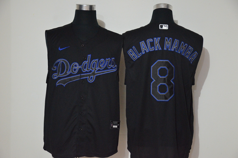 Dodgers 8 Black Mamba Black Nike Cool Base Sleeveless Jersey