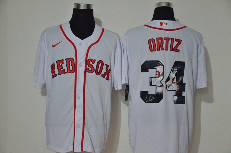 Red Sox 34 David Ortiz White 2020 Nike Cool Base Fashion Jersey