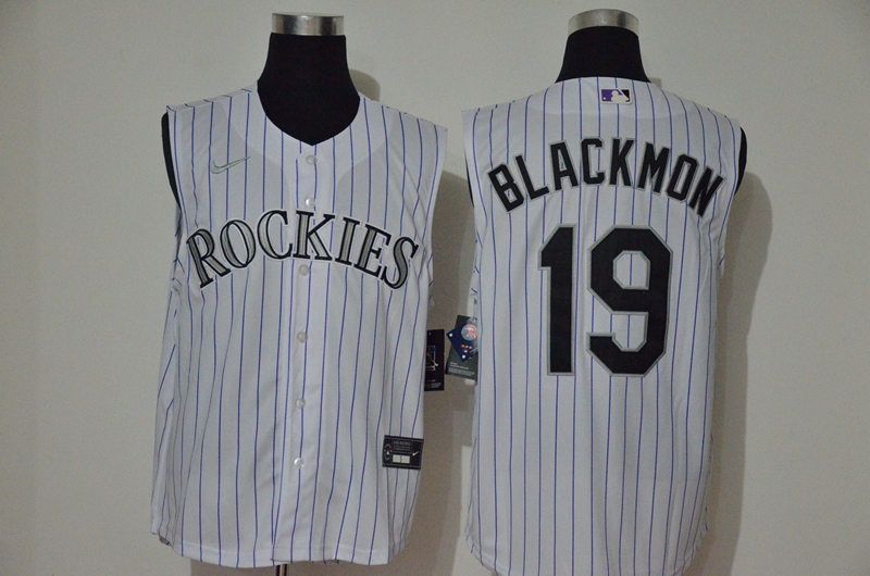 Rockies 19 Charlie Blackmon White Nike Cool Base Sleeveless Jersey