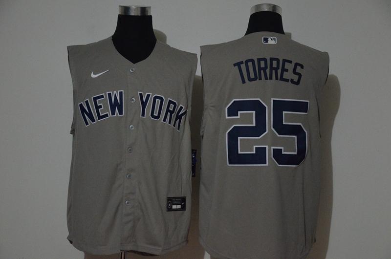 Yankees 25 Gleyber Torres Gray Nike Cool Base Sleeveless Jersey
