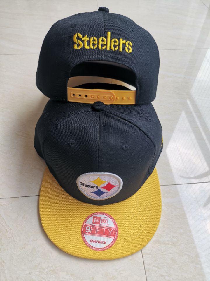 Steelers Team Logo Black Yellow Adjustable Hat LT
