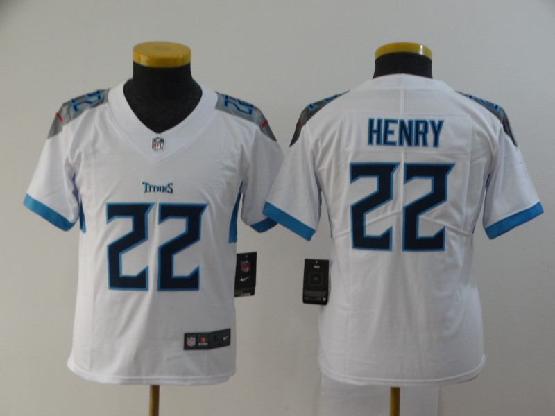 Nike Titans 22 Derrick Henry White Youth New Vapor Untouchable Player Limited Jersey
