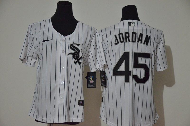 White Sox 45 Michael Jordan White Women 2020 Nike Cool Base Jersey