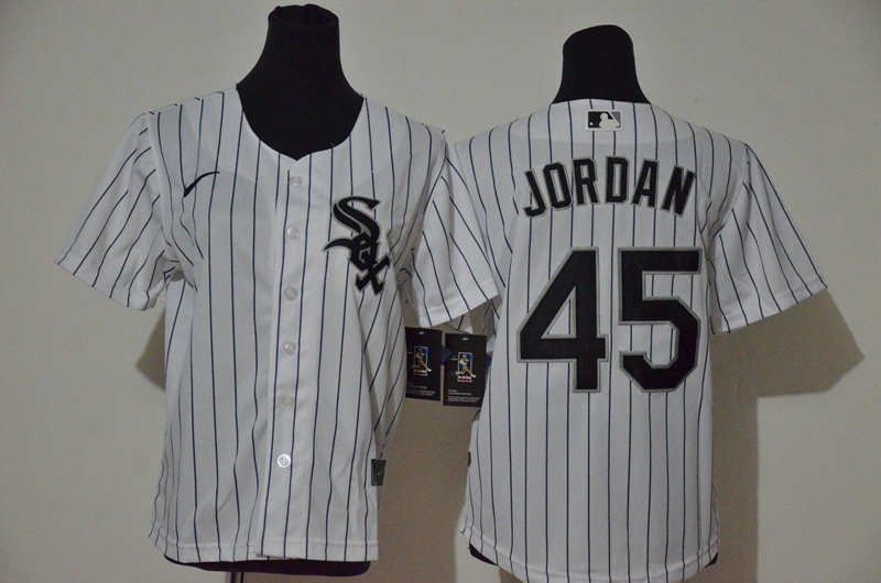 White Sox 45 Michael Jordan White Youth 2020 Nike Cool Base Jersey