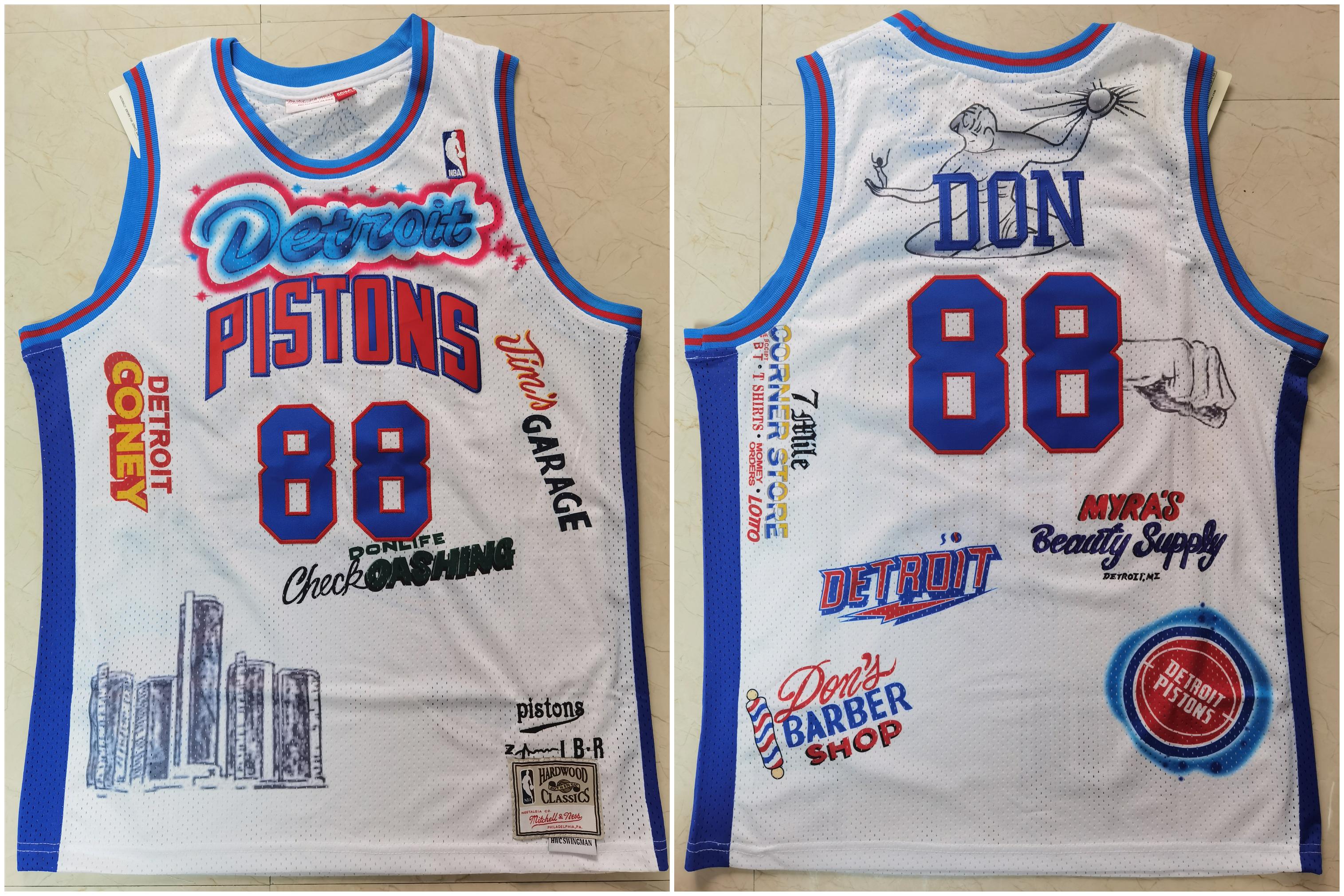 Pistons 88 Don White Hardwood Classics Jersey