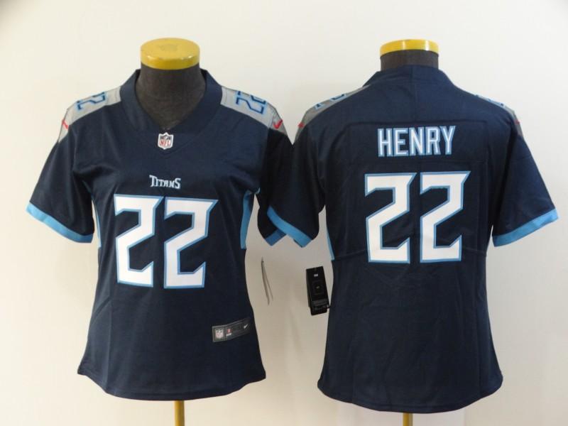 Nike Titans 22 Derrick Henry Navy Women New Vapor Untouchable Limited Jersey