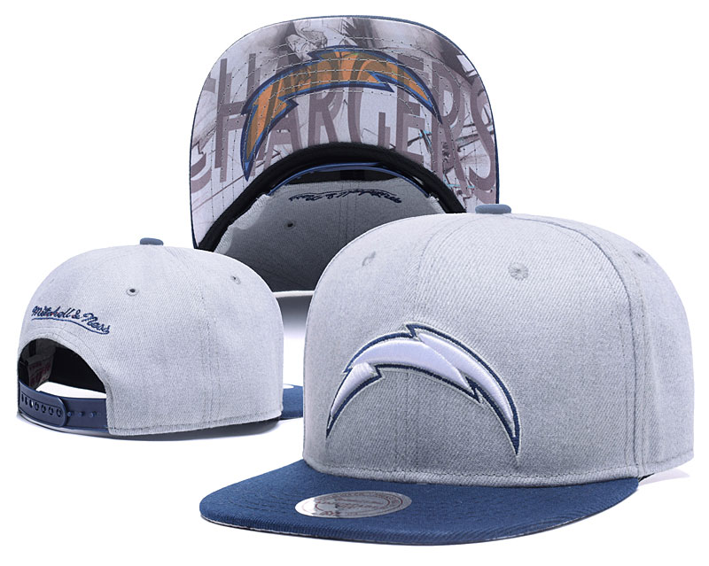 Chargers Team Logo Gray Mitchell & Ness Adjustable Hat LH.jpeg