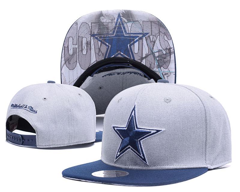 Cowboys Team Logo Gray Mitchell & Ness Adjustable Hat LH.jpeg