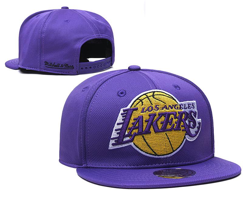 Lakers Team Logo Purple Mitchell & Ness Adjustable Hat TX