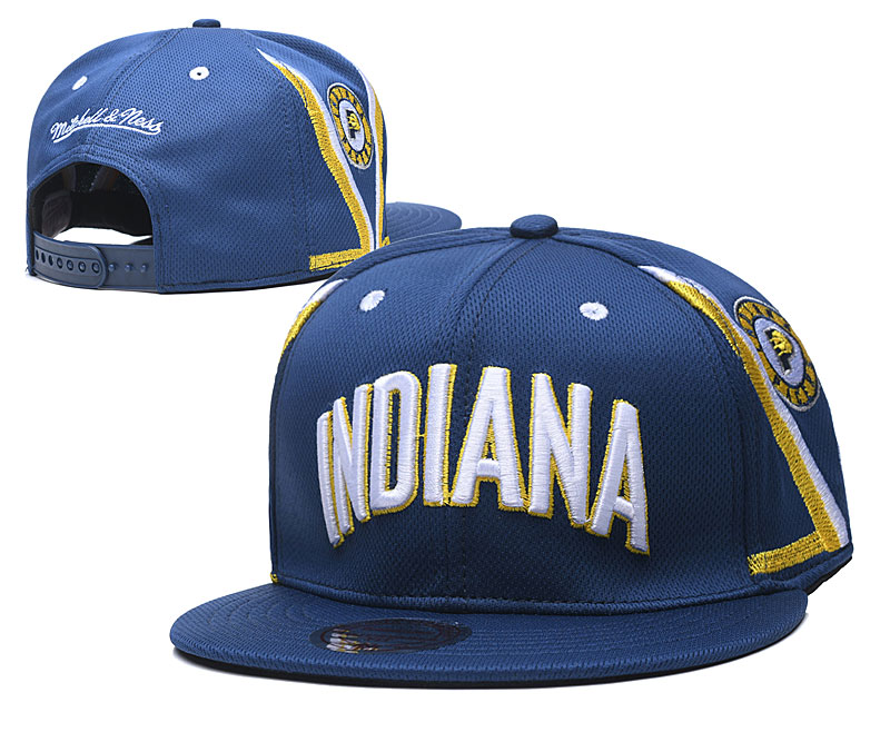 Pacers Team Logo Navy Mitchell & Ness Adjustable Hat TX