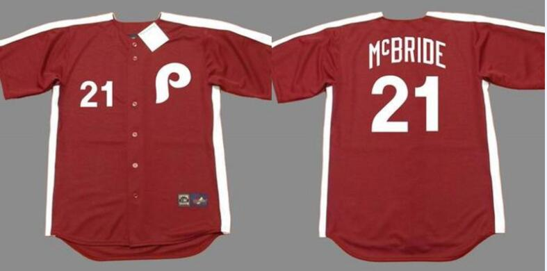 Phillies 21 Bake Mcbride Red 1979 Throwback Jersey