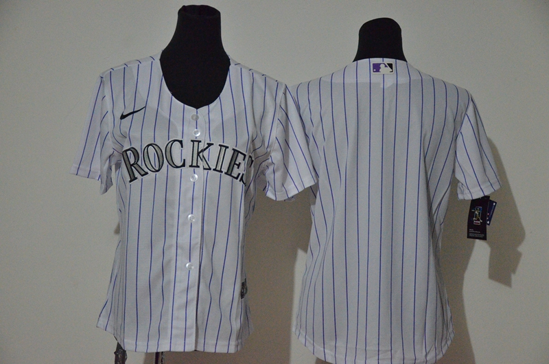 Rockies Blank White Women Cool Base Jersey