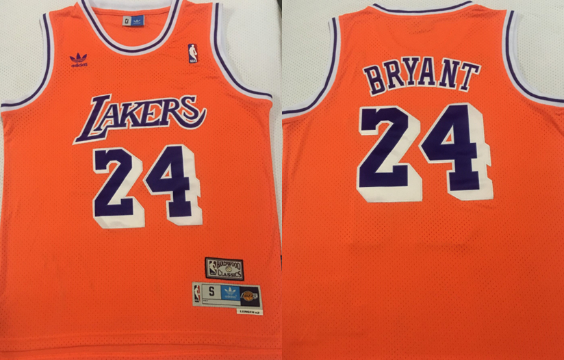 Lakers 24 Kobe Bryant Orange Hardwood Classics Jersey