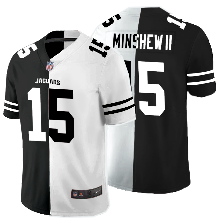 Nike Jaguars 15 Gardner Minshew II Black And White Split Vapor Untouchable Limited Jersey