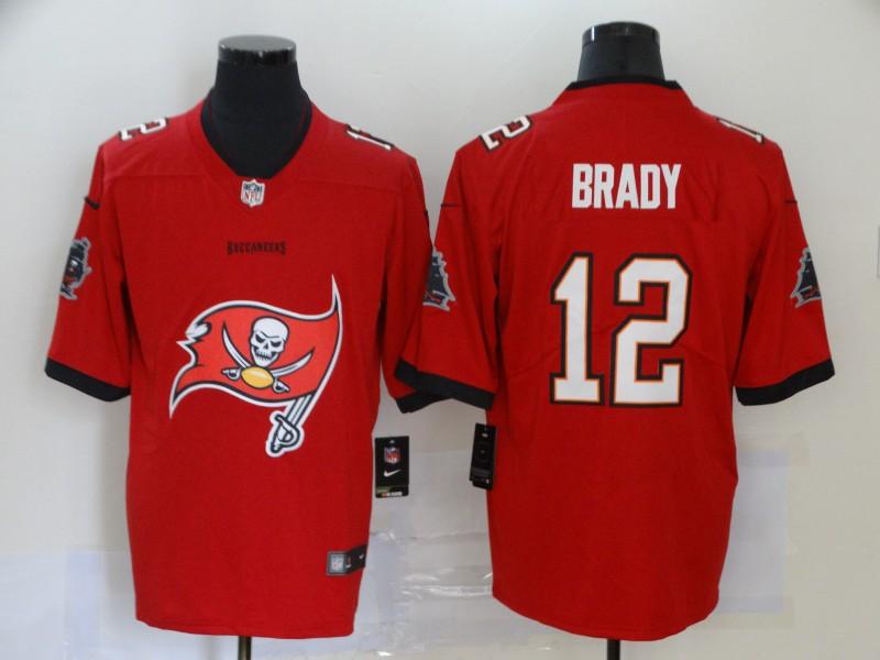 Nike Buccaneers 12 Tom Brady Red Team Big Logo Vapor Untouchable Limited Jersey