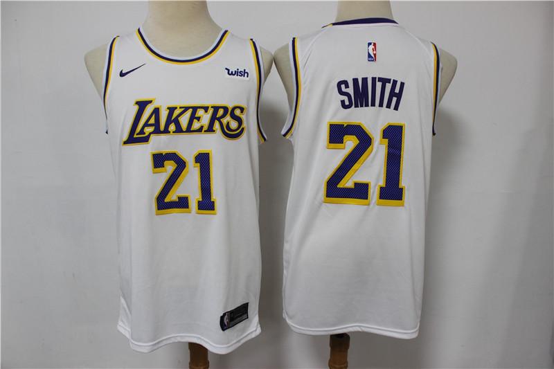 Lakers 21 J.R. Smith White Nike Swingman Jersey
