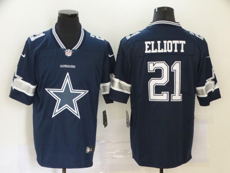 Nike Cowboys 21 Ezekiel Elliott Navy Team Big Logo Vapor Untouchable Limited Jersey