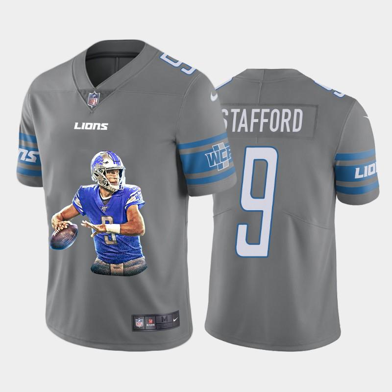 Nike Lions 9 Matthew Stafford Gray Player Name Logo Vapor Untouchable Limited Jersey