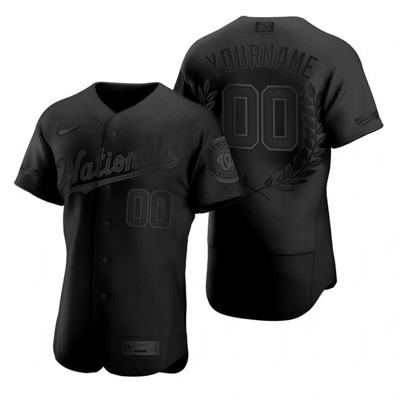 Nationals Customized Black Nike Flexbase Fashion Jersey