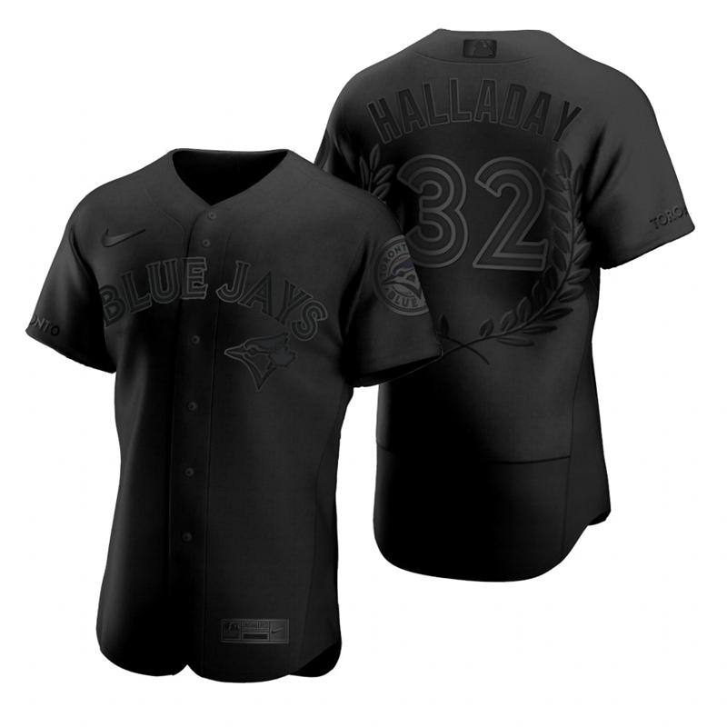 Blue Jays 32 Roy Halladay Black Nike Flexbase Fashion Jersey
