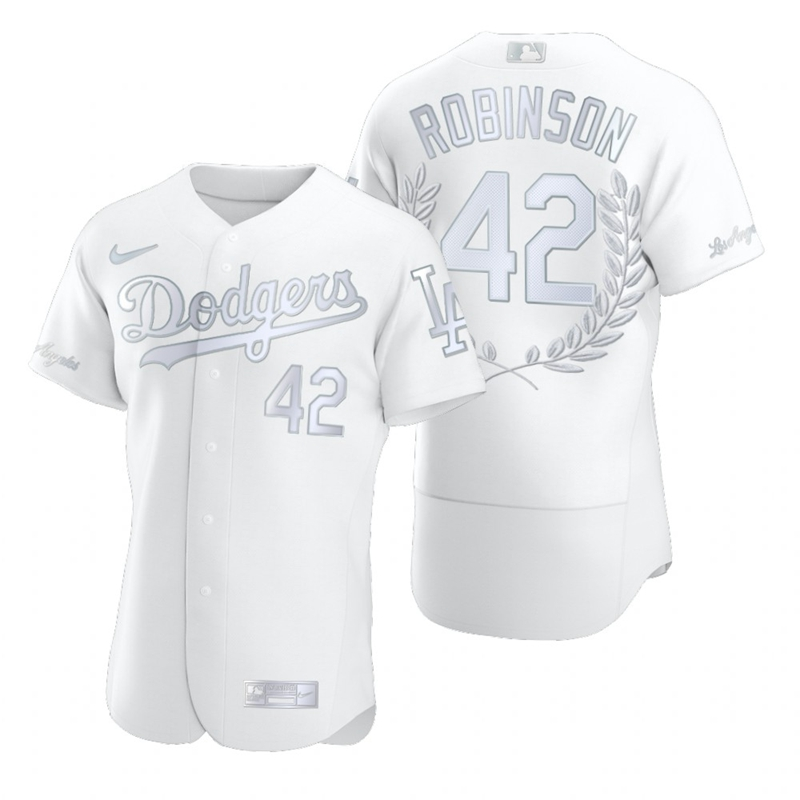Dodgers 42 Jackie Robinson White Nike Flexbase Fashion Jersey