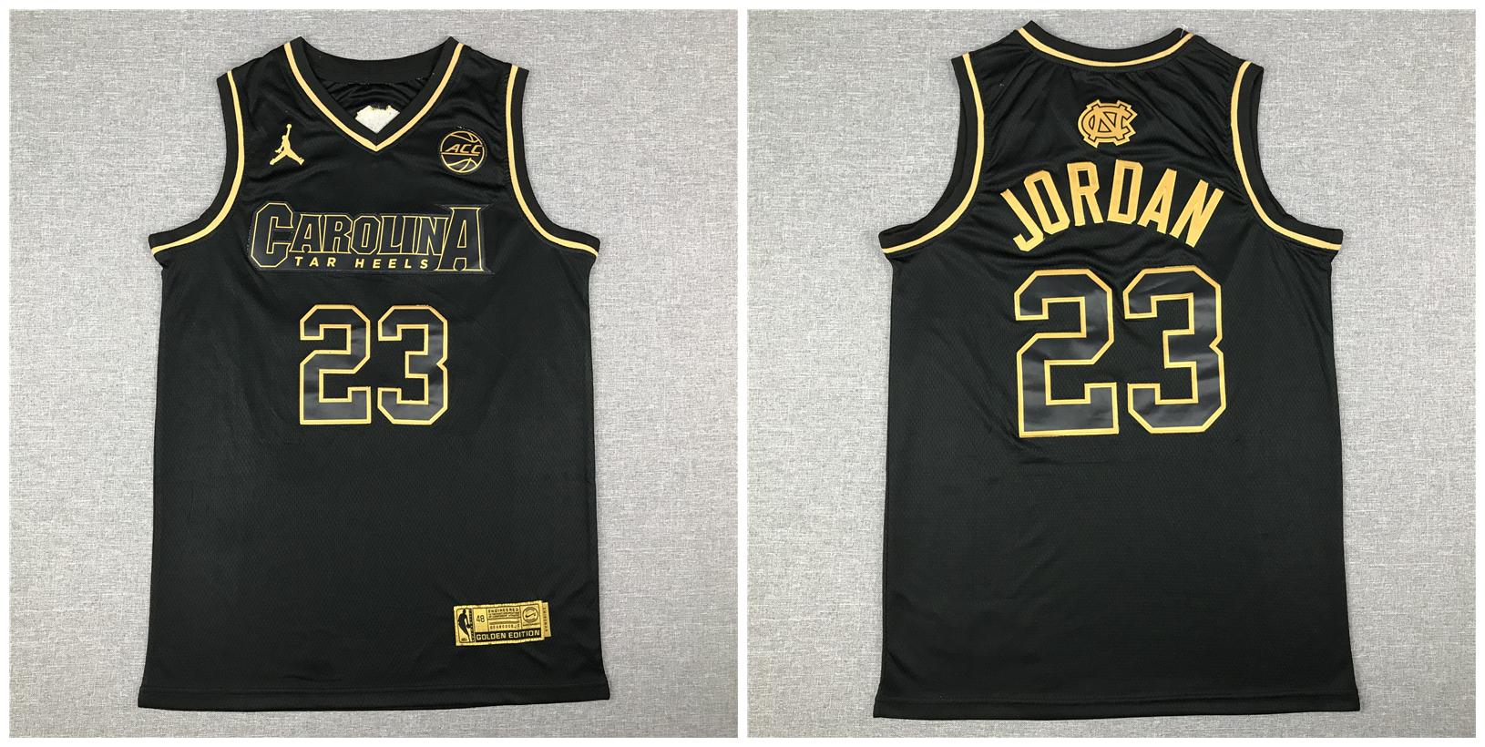 North Carolina Tar Heels 23 Michael Jordan Black Gold College Basketball Jersey