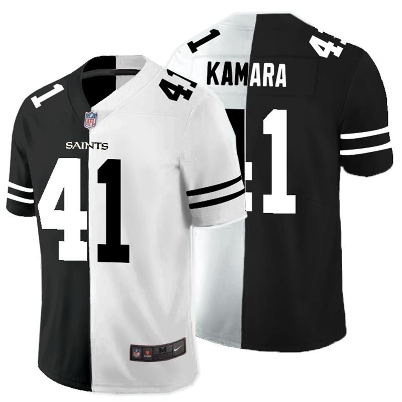 Nike Saints 41 Alvin Kamara Black And White Split Vapor Untouchable Limited Jersey