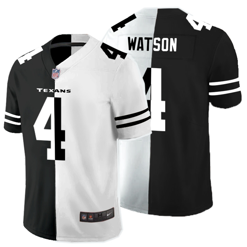 Nike Texans 4 Deshaun Watson Black And White Split Vapor Untouchable Limited Jersey