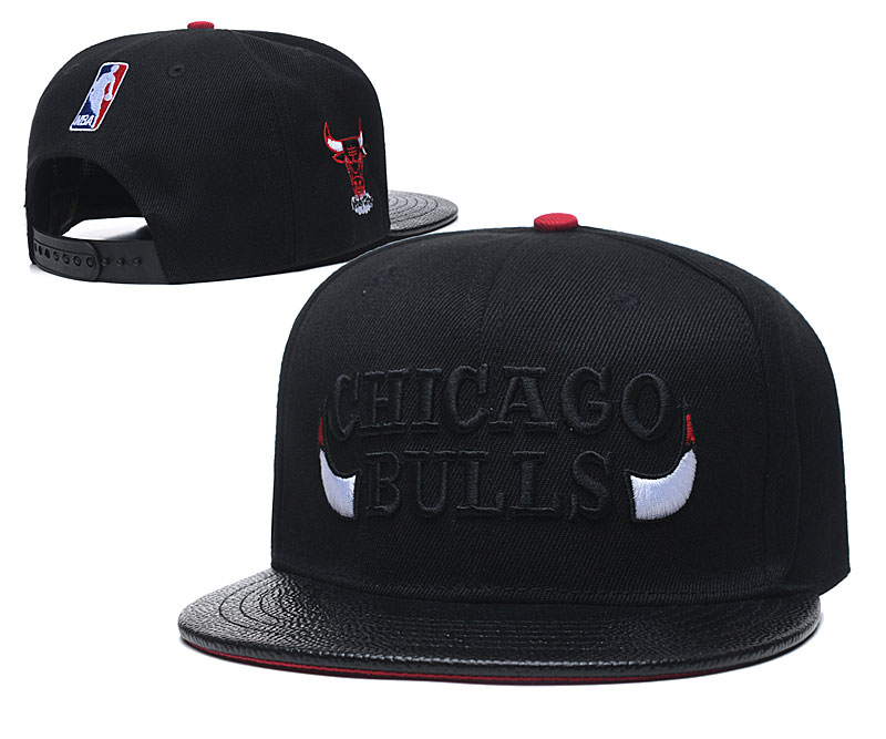 Bulls Team Logo Black Adjustable Hats TX