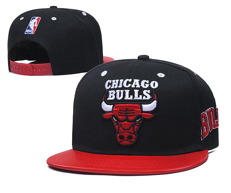 Bulls Team Logo Black Red Adjustable Hat TX