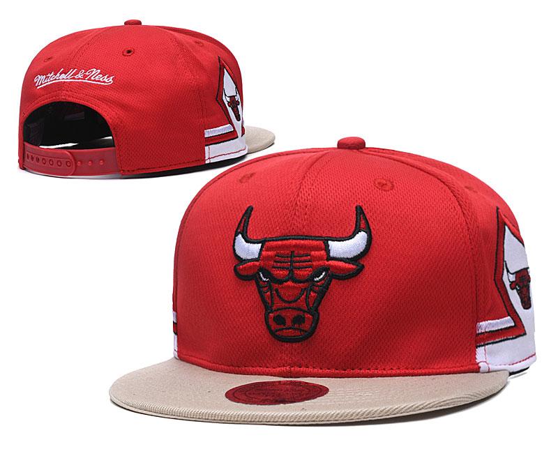 Bulls Team Logo Red Mitchell & Ness Adjustable Hat TX