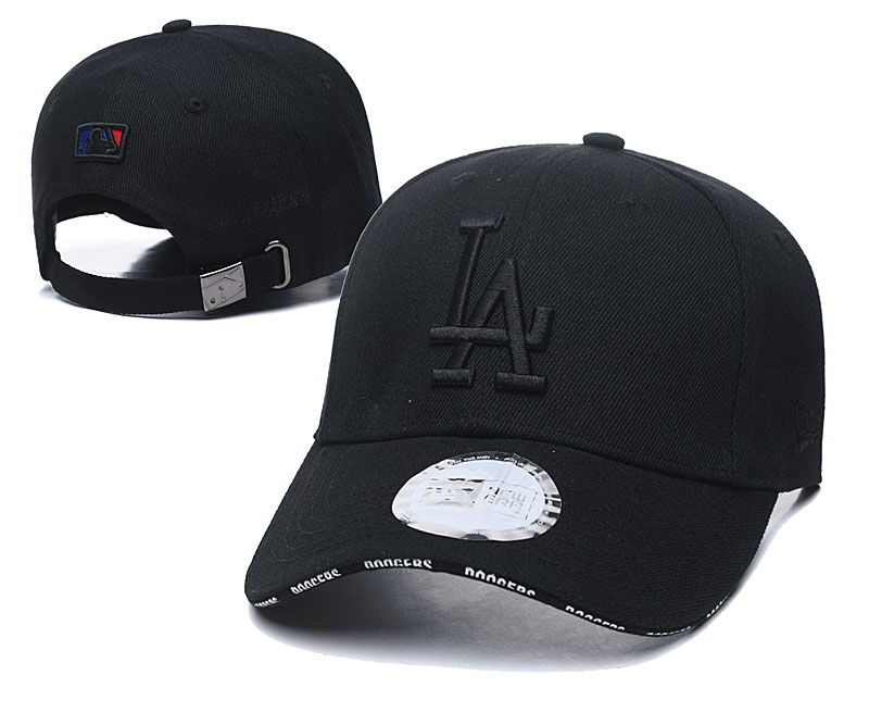 Dodgers Team White Logo All Black Peaked Adjustable Hat TX