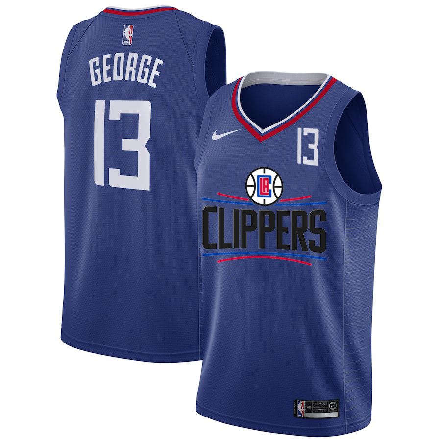 Clippers 13 Paul George White Nike Number Swingman Jersey