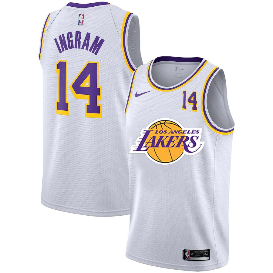 Lakers 14 Brandon Ingram White Nike City Edition Number Swingman Jersey