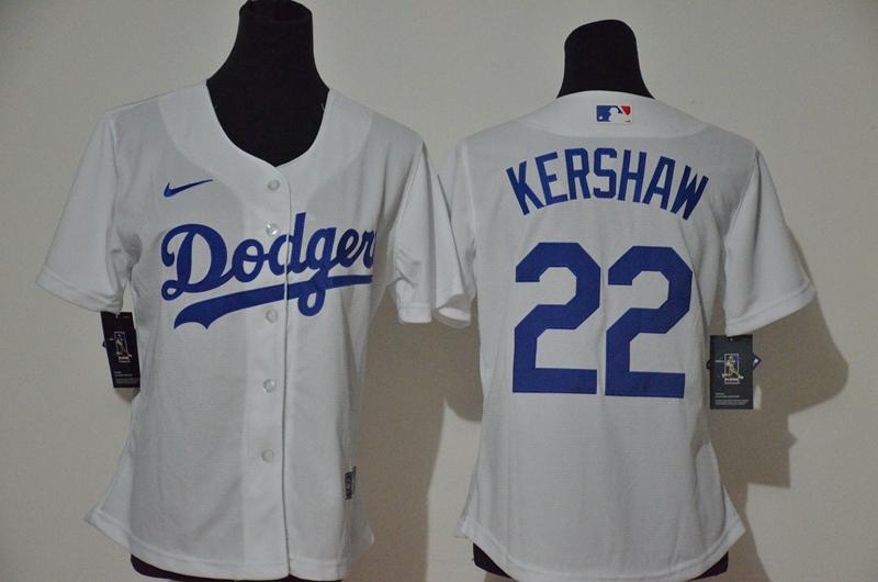Dodgers 22 Clayton Kershaw White Women 2020 Nike Cool Base Jersey