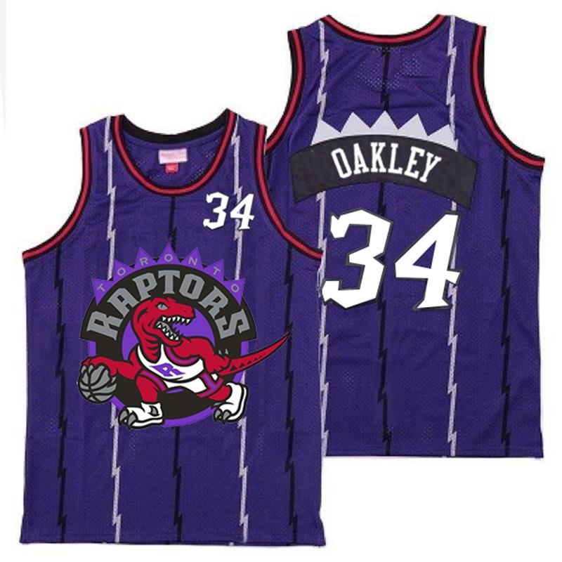 Raptors 34 Charles Oakley Purple Big Logo Retro Jersey
