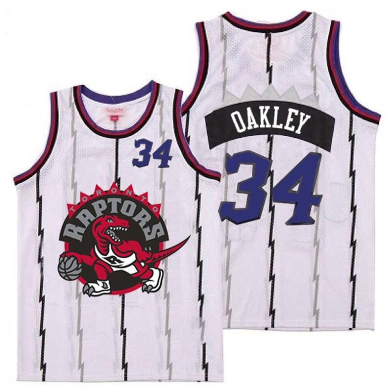 Raptors 34 Charles Oakley White Big Gray Red Logo Retro Jersey