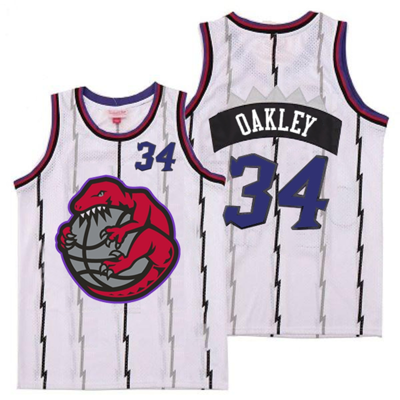 Raptors 34 Charles Oakley White Retro Jerseys