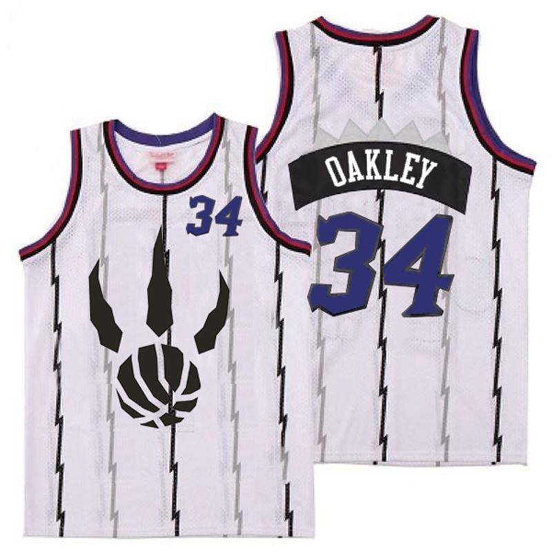 Raptors 34 Charles Oakley White Throwback Jersey