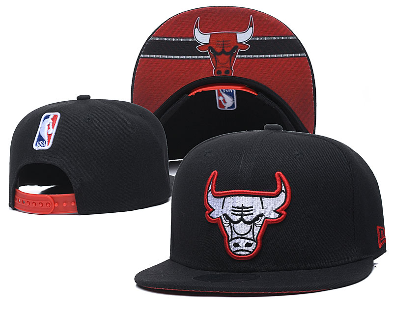 Bulls Fresh Logo Black Red Adjustable Hat GS