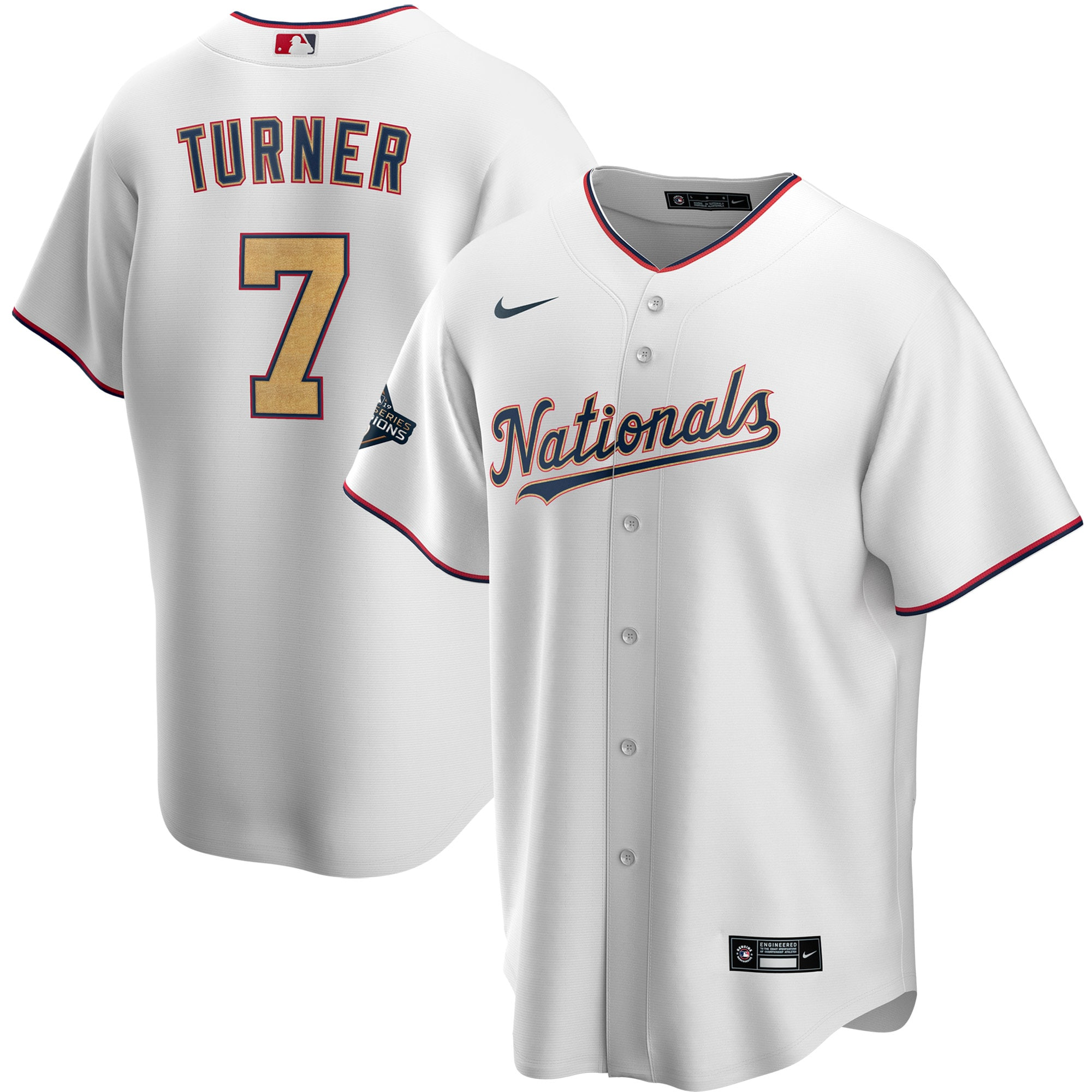 Nationals 7 Trea Turner White Gold Nike 2020 Gold Program Cool Base Jersey