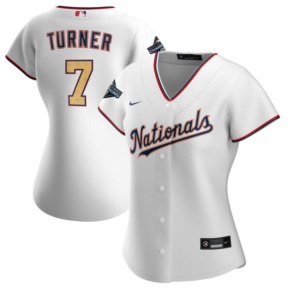 Nationals 7 Trea Turner White Gold Women Nike 2020 Gold Program Cool Base Jersey