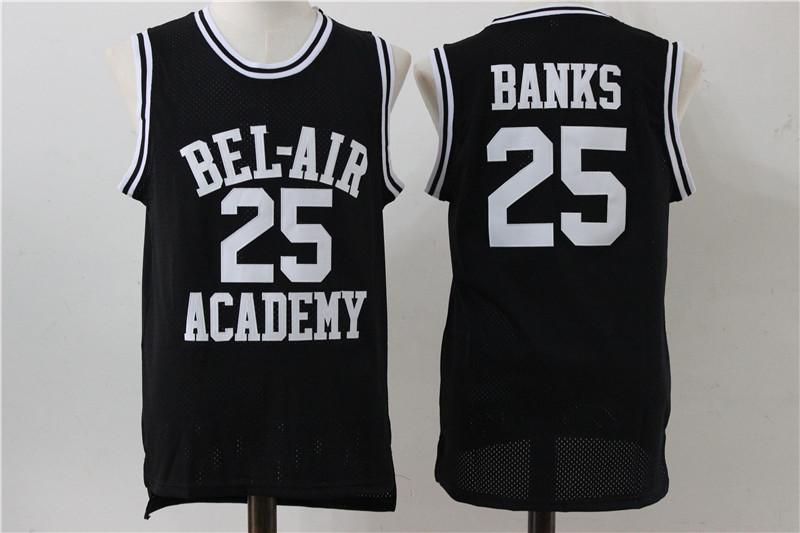 Bel-Air Academy 25 Carlton Banks Black Stitched Movie Jersey