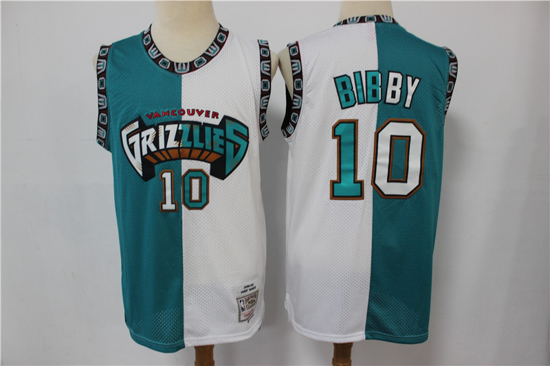 Grizzlies 10 Mike Bibby Blue White Split Hardwood Classics Jersey
