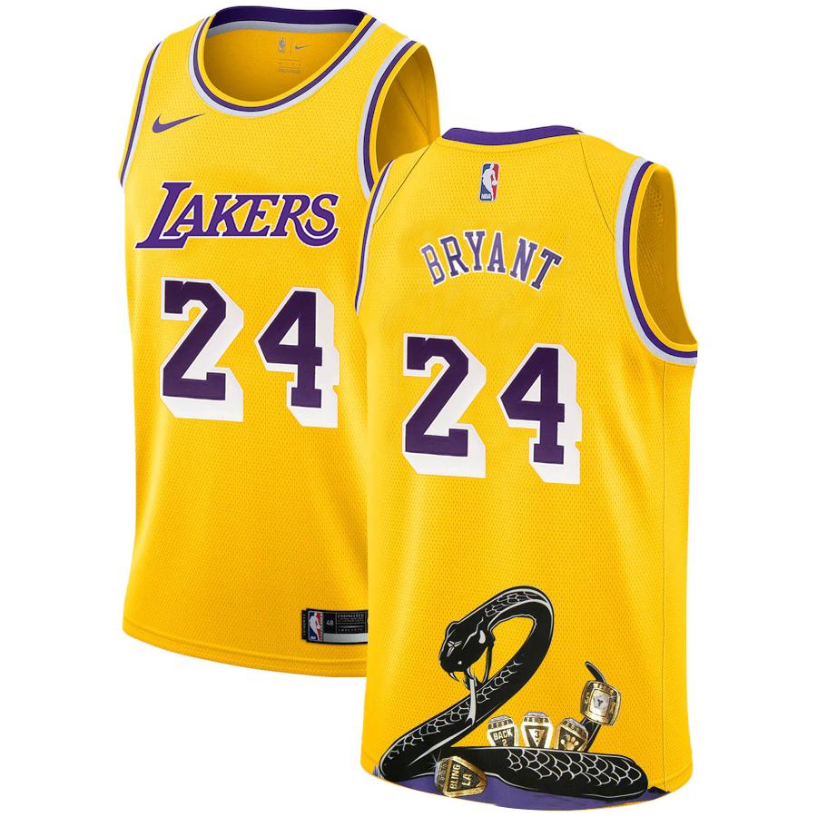 Lakers 24 Kobe Bryant Yellow Nike R.I.P Swingman Fashion Jersey