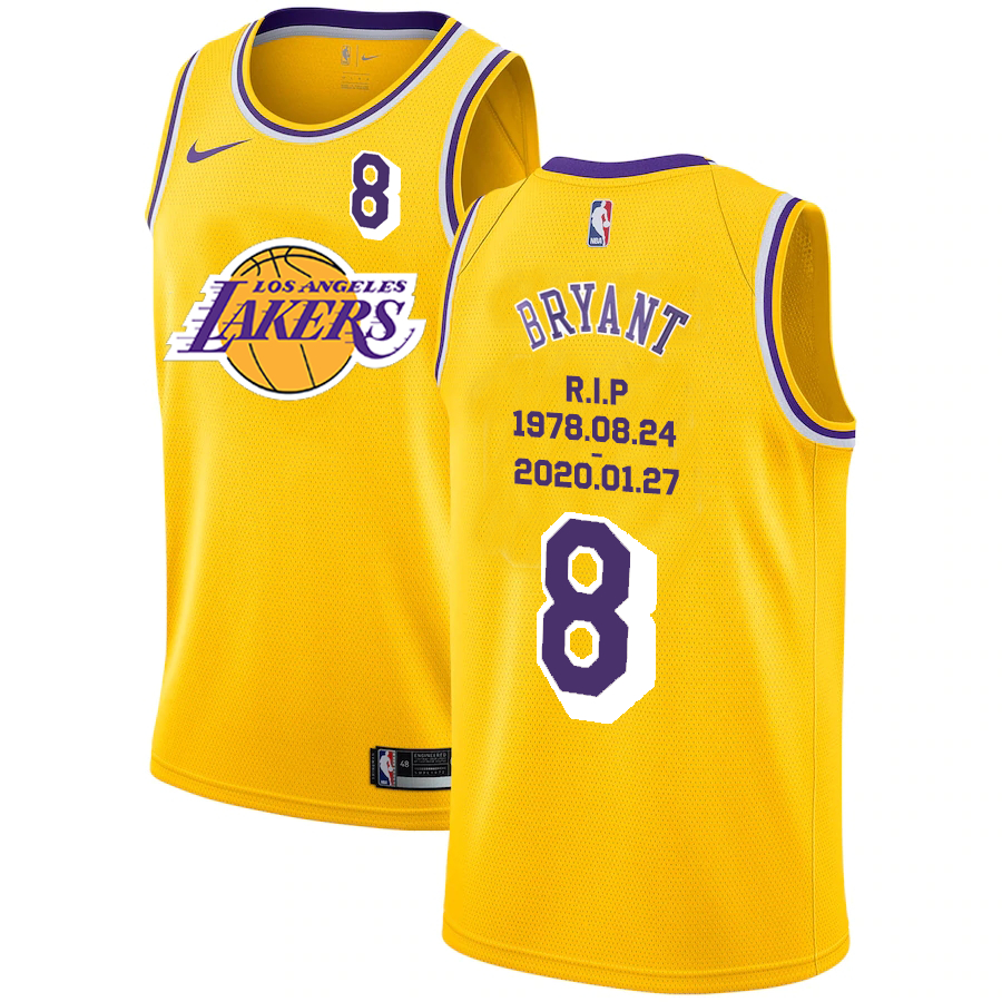 Lakers 8 Kobe Bryant Yellow Nike R.I.P Swingman Jersey