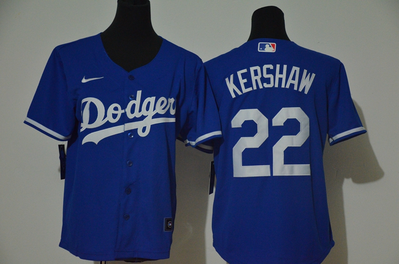 Dodgers 22 Clayton Kershaw Royal Youth Nike Cool Base Jersey