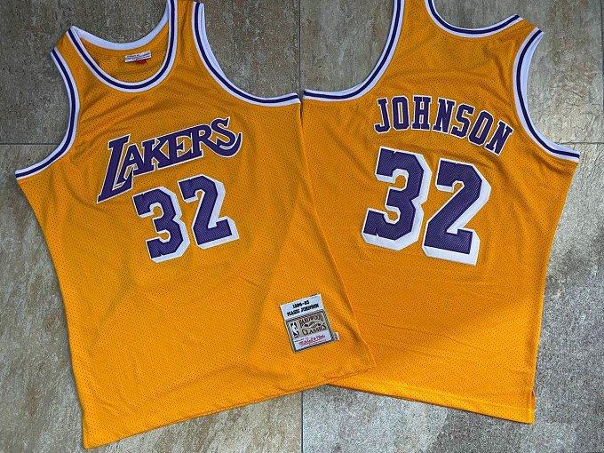 Lakers 32 Magic Johnson Yellow 1984-85 Hardwood Classics Jersey